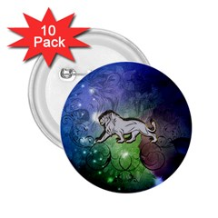 Wonderful Lion Silhouette On Dark Colorful Background 2 25  Buttons (10 Pack)