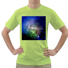 Wonderful Lion Silhouette On Dark Colorful Background Green T Shirt