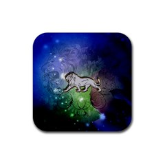 Wonderful Lion Silhouette On Dark Colorful Background Rubber Square Coaster (4 Pack)