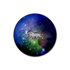 Wonderful Lion Silhouette On Dark Colorful Background Rubber Coaster (round)