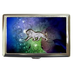 Wonderful Lion Silhouette On Dark Colorful Background Cigarette Money Cases