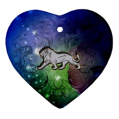 Wonderful Lion Silhouette On Dark Colorful Background Heart Ornament (two Sides)