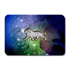 Wonderful Lion Silhouette On Dark Colorful Background Plate Mats
