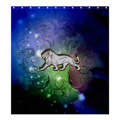 Wonderful Lion Silhouette On Dark Colorful Background Shower Curtain 66  X 72  (large)