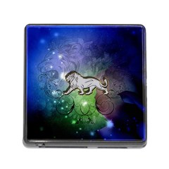 Wonderful Lion Silhouette On Dark Colorful Background Memory Card Reader (square)