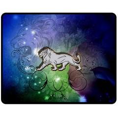 Wonderful Lion Silhouette On Dark Colorful Background Fleece Blanket (medium)