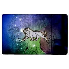 Wonderful Lion Silhouette On Dark Colorful Background Apple Ipad 2 Flip Case