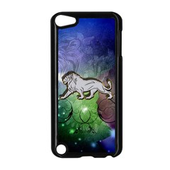 Wonderful Lion Silhouette On Dark Colorful Background Apple Ipod Touch 5 Case (black)