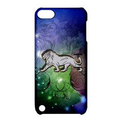 Wonderful Lion Silhouette On Dark Colorful Background Apple Ipod Touch 5 Hardshell Case With Stand