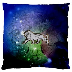 Wonderful Lion Silhouette On Dark Colorful Background Standard Flano Cushion Case (two Sides)