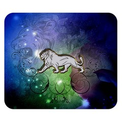 Wonderful Lion Silhouette On Dark Colorful Background Double Sided Flano Blanket (small)