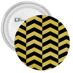 Chevron2 Black Marble & Yellow Watercolor 3  Buttons