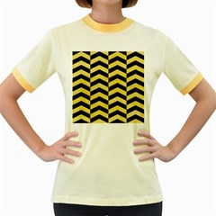Chevron2 Black Marble & Yellow Watercolor Women s Fitted Ringer T Shirts