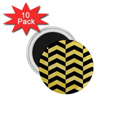 Chevron2 Black Marble & Yellow Watercolor 1 75  Magnets (10 Pack)