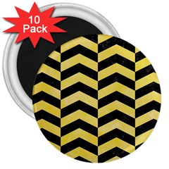 Chevron2 Black Marble & Yellow Watercolor 3  Magnets (10 Pack)