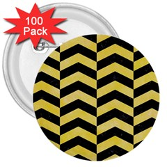 Chevron2 Black Marble & Yellow Watercolor 3  Buttons (100 Pack)