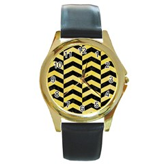 Chevron2 Black Marble & Yellow Watercolor Round Gold Metal Watch