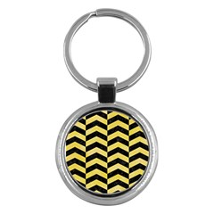 Chevron2 Black Marble & Yellow Watercolor Key Chains (round)