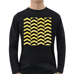 Chevron2 Black Marble & Yellow Watercolor Long Sleeve Dark T Shirts