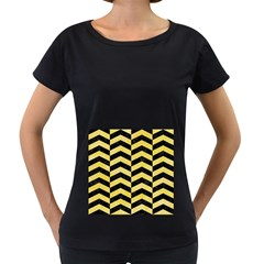 Chevron2 Black Marble & Yellow Watercolor Women s Loose Fit T Shirt (black)