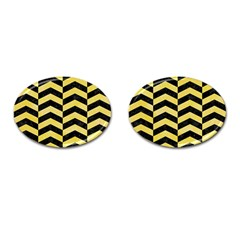 Chevron2 Black Marble & Yellow Watercolor Cufflinks (oval)