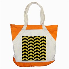 Chevron2 Black Marble & Yellow Watercolor Accent Tote Bag