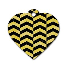 Chevron2 Black Marble & Yellow Watercolor Dog Tag Heart (one Side)