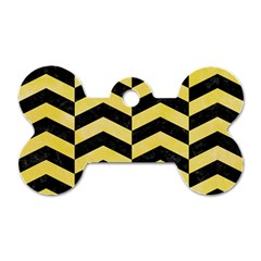 Chevron2 Black Marble & Yellow Watercolor Dog Tag Bone (one Side)