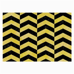 Chevron2 Black Marble & Yellow Watercolor Large Glasses Cloth (2 Side)