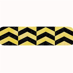 Chevron2 Black Marble & Yellow Watercolor Large Bar Mats