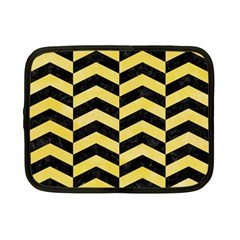 Chevron2 Black Marble & Yellow Watercolor Netbook Case (small)