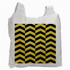 Chevron2 Black Marble & Yellow Watercolor Recycle Bag (one Side)