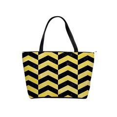 Chevron2 Black Marble & Yellow Watercolor Shoulder Handbags