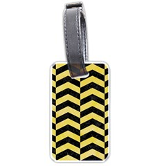 Chevron2 Black Marble & Yellow Watercolor Luggage Tags (one Side)