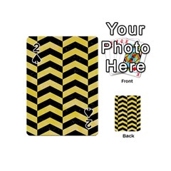 Chevron2 Black Marble & Yellow Watercolor Playing Cards 54 (mini)