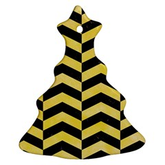 Chevron2 Black Marble & Yellow Watercolor Ornament (christmas Tree)