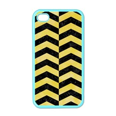 Chevron2 Black Marble & Yellow Watercolor Apple Iphone 4 Case (color)