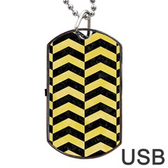 Chevron2 Black Marble & Yellow Watercolor Dog Tag Usb Flash (two Sides)