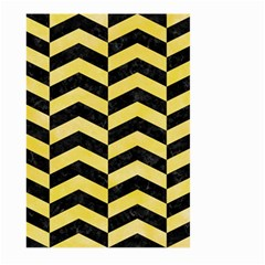 Chevron2 Black Marble & Yellow Watercolor Large Garden Flag (two Sides)