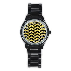 Chevron2 Black Marble & Yellow Watercolor Stainless Steel Round Watch