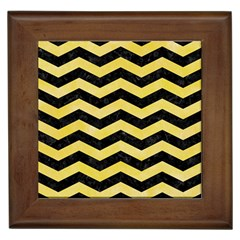 Chevron3 Black Marble & Yellow Watercolor Framed Tiles