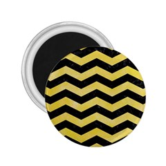 Chevron3 Black Marble & Yellow Watercolor 2 25  Magnets