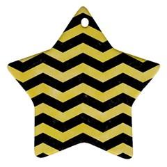 Chevron3 Black Marble & Yellow Watercolor Ornament (star)