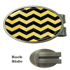 Chevron3 Black Marble & Yellow Watercolor Money Clips (oval)