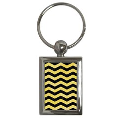 Chevron3 Black Marble & Yellow Watercolor Key Chains (rectangle)