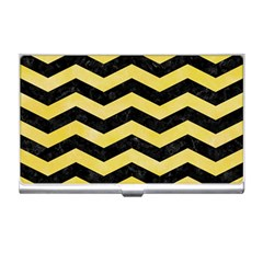 Chevron3 Black Marble & Yellow Watercolor Business Card Holders