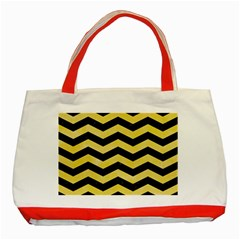 Chevron3 Black Marble & Yellow Watercolor Classic Tote Bag (red)