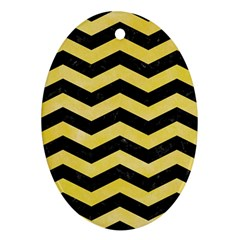Chevron3 Black Marble & Yellow Watercolor Oval Ornament (two Sides)