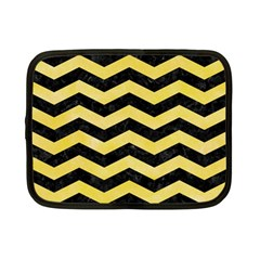 Chevron3 Black Marble & Yellow Watercolor Netbook Case (small)