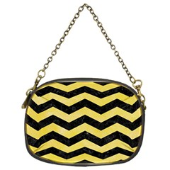 Chevron3 Black Marble & Yellow Watercolor Chain Purses (two Sides)